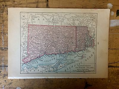 Antique Map of Connecticut and Rhode Island 1898 by Rand, McNally & Co.