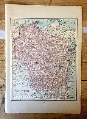 Antique Map of Wisconsin 1904 by Rand, McNally & Co