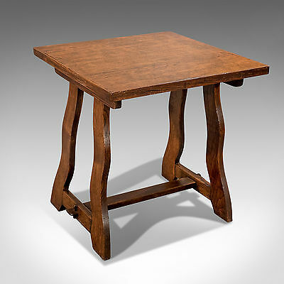 "Antique Square Edwardian Oak Side Lamp Table 25"" x 25"" Arts & Crafts c1910"