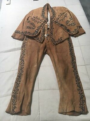 Early 20th Century Child's Charro Outfit 3 Piece Leather Antique Mexican