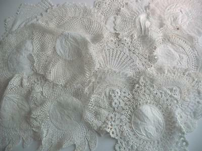 19 Irish Linen Victorian/Edwardian  Damask Crocheted Lace Table Doilies, Mats