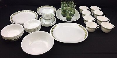 HUGE Set Of Corelle SPRING BLOSSOM CRAZY DAISY Dishes Plates Bowls Pyrex Corning