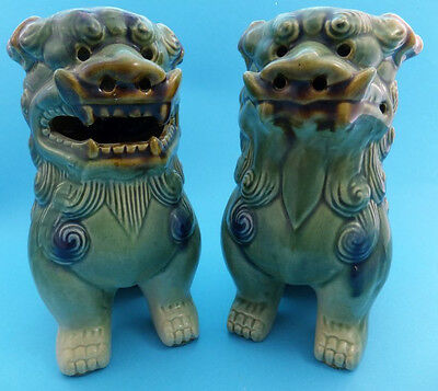 Foo Dogs Vintage Chinese Ceramic Oriental Guardian Lions Feng Shui