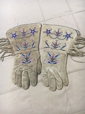 Antique Beaded Indian Native American Crow Gauntlets