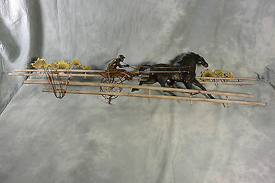 Vintage Mid Century Brass Signed C Jere' Harness Racing Trotter Racing Sculpture