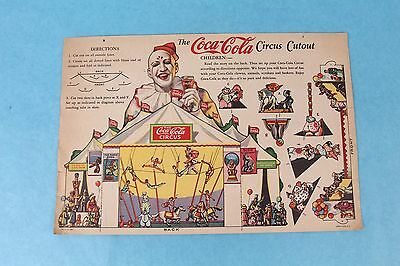 Vintage 1932 Coca Cola Children's Paper Litho Circus Advertising Promo Cutout