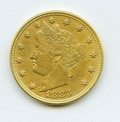 1883 No Cents Liberty V Racketeer Gold Nickel AU