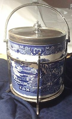 Antique Biscuit Barrel, c.1880, MacIntyre Pottery, Gallimore Silverplate