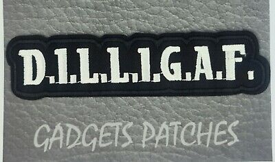DILLIGAF Biker Motorcycle Vest Embroidered Patches Badge Iron Sew On