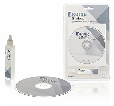 Konig Laser Lens Cleaner With Cleaning Fluid For Cd Players Clean Dvd Blu-Ray