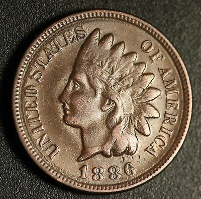 1886 INDIAN HEAD CENT - With LIBERTY - VF VERY FINE - T2 Type 2