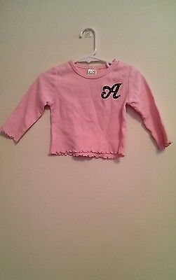 Psycho Baby Girl's Size 6 -12 Months Pink Cotton Long Sleeve Shirt