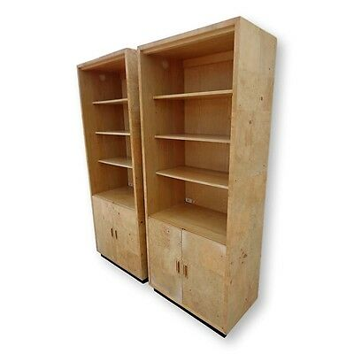 Vtg Pair Henredon Scene Two Olive Burl Wood Bookcases Wall Units Display Cabinet
