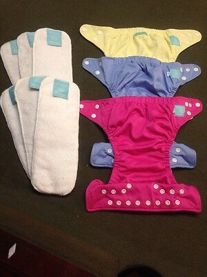 Lot Charlie Banana Cloth Diapers One Size 3 Covers 6 Inserts Girls EUC
