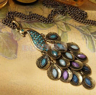 Vintage Bronze Style Peacock Blue/Green Crystal Chain Pendant Necklace TSUS
