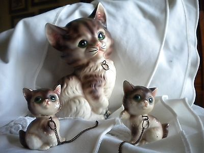 Vintage Cat figurine figure; Lot of 3 Cat Mother & 2 kittens Royal Sealy Japan