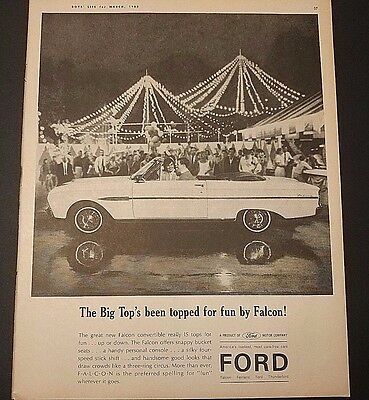 Ford Falcon Convertible Print Ad Vintage 1963
