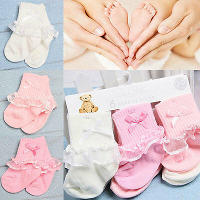 3pairs Pretty Baby Girls Frilly Newborn Lace Look Cotton Socks Random Color 0-9M