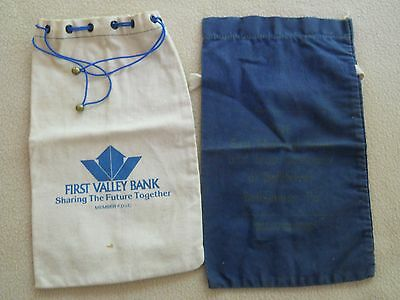 2 Vintage bank money deposit bags/First Valley Bank/First National Bank & Trust