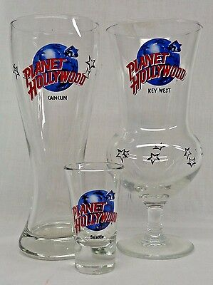 PLANET HOLLYWOOD - HURRICANE, BEER & SHOT GLASS (Key West, Cancun, Seattle)