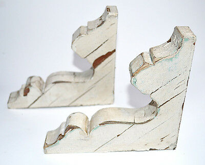Antique Pair Wood Gingerbread Corbels Shabby Chic White, Good Condition