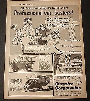 Chrysler Corporation Professional car-busters Print Ad Vintage 1962