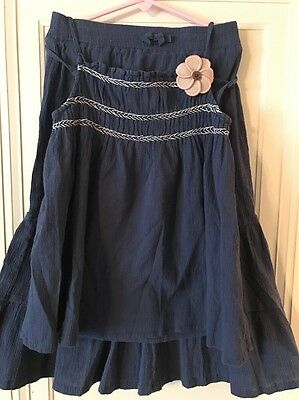 Gymboree Spring Summer Blue-Gray Slate Linen-type Top & Skirt Outfit 9 10  EUC