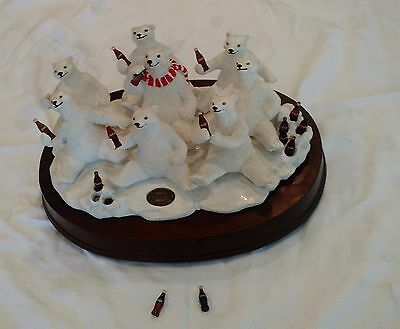 1994 Large Heritage Collection Coca Cola (8) Polar Bears Musical Figurine
