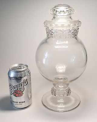 "11-3/4"" tall Dakota globe apothecary store candy jar with ground lid"