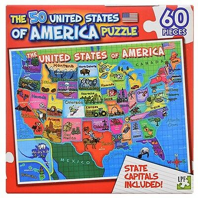 60 Piece Puzzle 50 United States Of America Usa State Capitals Included -Red