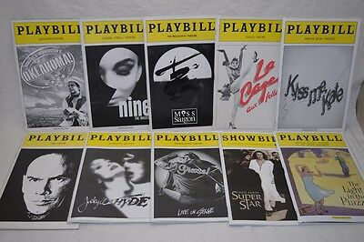Broadway Theater Playbill Program Lot of 10 / Some Ticket Stubs / La Cage Grease