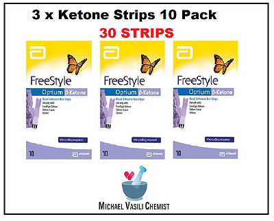 Ketone Test Strips 3x 10 Pack (30 Strips)  FreeStyle Optium Blood Ketone Abbott