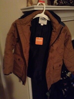 SZ 7 8 Gymboree Camel Brown Blue Hooded Quilted Coat Jacket Boy New NWT