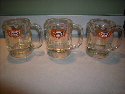 "Lot of 3 Vintage medium A & W root beer glass mug stein 4 1/2 "" tall usa logo"