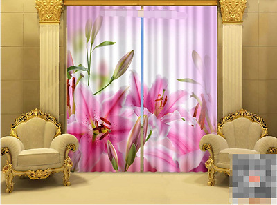 3D Pink Lily Blockout Photo Curtain Printing Curtains Drapes Fabric Window UK