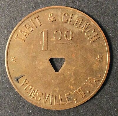Coal Scrip Token - $1 Tabit & Clonch Lyonsville,WV - Nicholas County