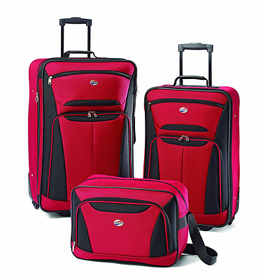 3 Pc Travel Trolley Suitcase American Tourister Luggage Set Fieldbrook II (Red)