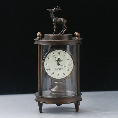 Chinese Collectible Bronze Handwork Sika Deer Mechanical Clock