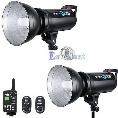 2Pcs Godox DS300 300W Bowens Mount Studio Strobe Flash Light + FT-16 Trigger【US】