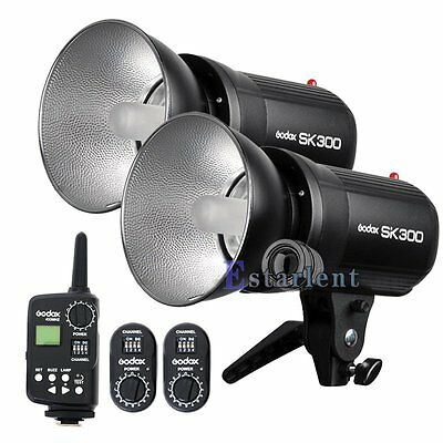 2Pcs Godox SK300 300W Bowens Mount Studio Strobe Flash Light + FT-16 Trigger【US】