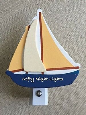 Nursery Night Lights - Night Light, Baby Shower, Nautical Sailboat, Auto On/Off