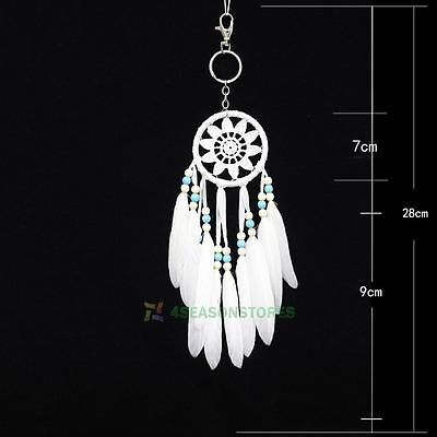 Mini Retro Dream Catcher Feather Charm Pendant Key Chain Ring Tassel Bag Keyring