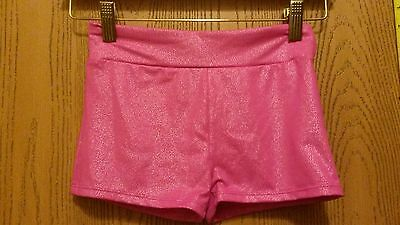 Danskin Freestyle Girls' 10/12 pink shimmer wide waistband Dance shorts
