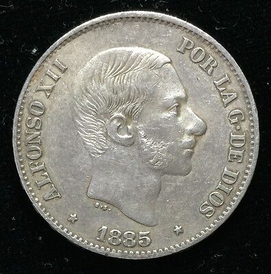 1885 Alfonso 50 centavos Spain-Philippines Silver Coin - lot 10