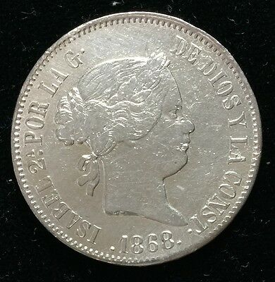 1868 Isabel 2A 50 centavos Spain-Philippines Silver Coin  - lot 19