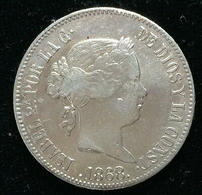 1868 Isabel 2A 50 centavos Spain-Philippines Silver Coin  - lot 12