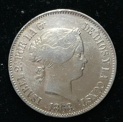 1868 Isabel 2A 50 centavos Spain-Philippines Silver Coin  - lot 14