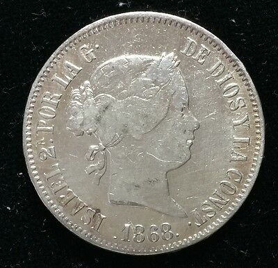 1868 Isabel 2A 50 centavos Spain-Philippines Silver Coin  - lot 20