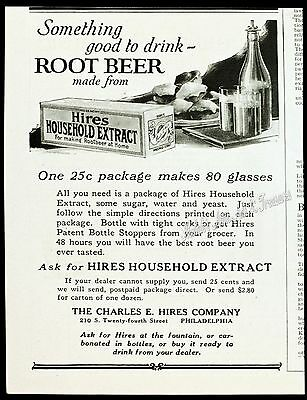 1909 HIRES ROOT BEER EXTRACT for Making at Home Advertising Box Vtg PRINT AD