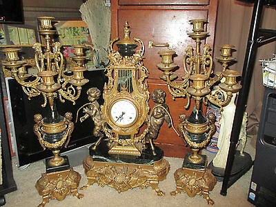 Vintage Brass &marble Imperial Brevettato Made In Italy Clock/candelabras